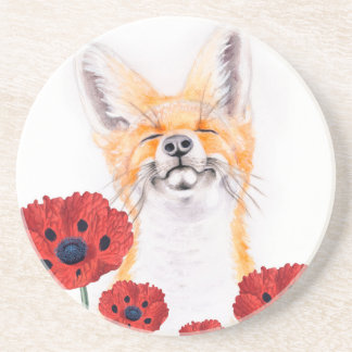 fox and poppies coaster