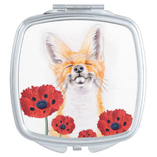fox and poppies compact mirror