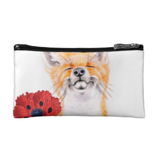 fox and poppies cosmetic bag
