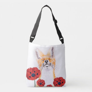 fox and poppies crossbody bag