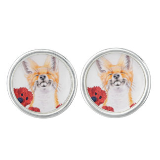 fox and poppies cuff links