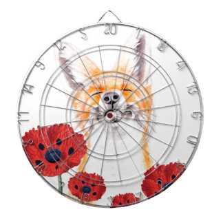fox and poppies dartboard