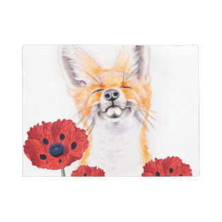 fox and poppies doormat