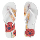 fox and poppies flip flops