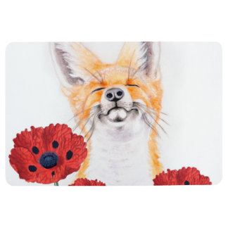 fox and poppies floor mat