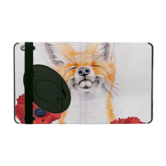fox and poppies iPad folio case