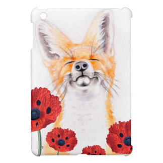 fox and poppies iPad mini case