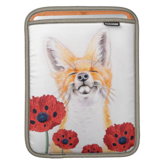 fox and poppies iPad sleeve