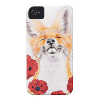 fox and poppies iPhone 4 case
