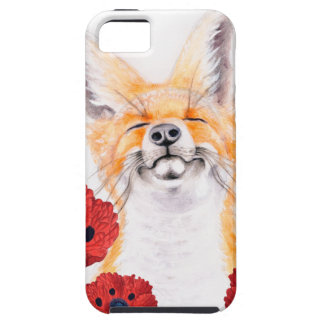 fox and poppies iPhone 5 cover