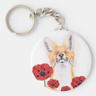 fox and poppies keychain
