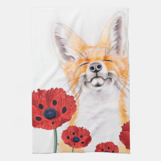 fox and poppies kitchen towel