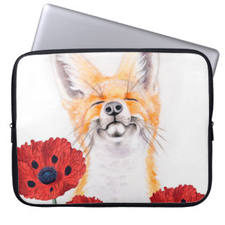 fox and poppies laptop sleeve