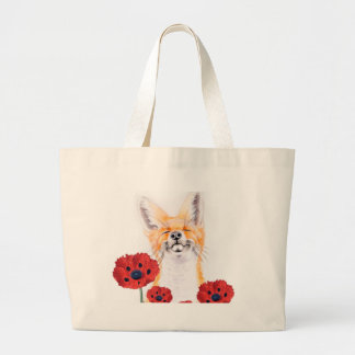 fox and poppies large tote bag