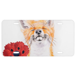 fox and poppies license plate