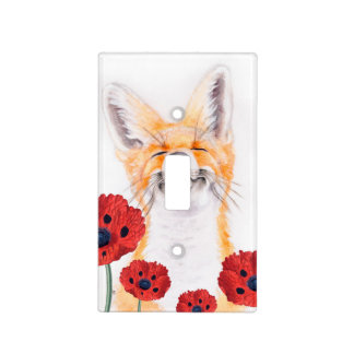 fox and poppies light switch cover