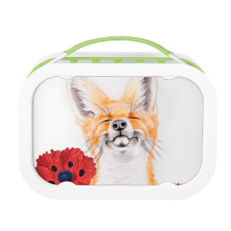 fox and poppies lunch box