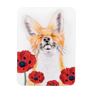 fox and poppies magnet