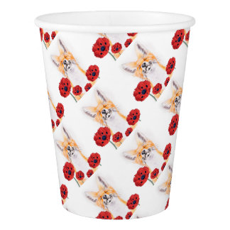 fox and poppies paper cup