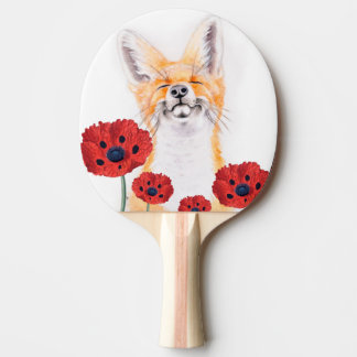 fox and poppies ping pong paddle