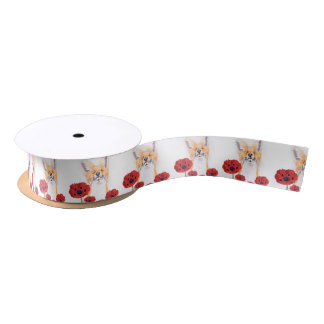 fox and poppies satin ribbon