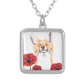 fox and poppies silver plated necklace