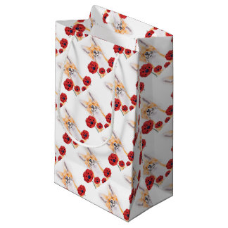 fox and poppies small gift bag