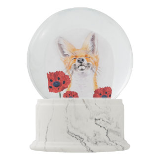 fox and poppies snow globe