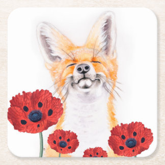 fox and poppies square paper coaster