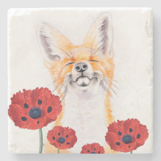 fox and poppies stone coaster