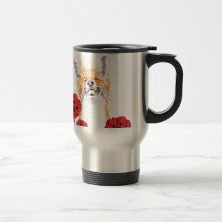 fox and poppies travel mug