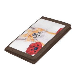 fox and poppies trifold wallet