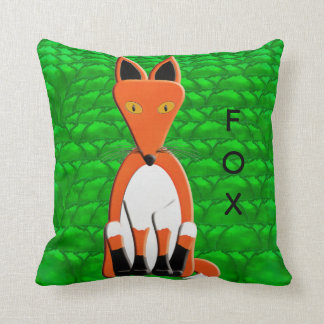 Fox and Red Squirrel Throw Pillow