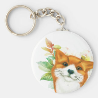 Fox and roses keychain