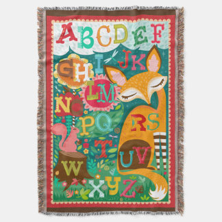 Fox And Squirrel ABCs Throw Blanket