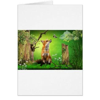 fox and the humming bird card