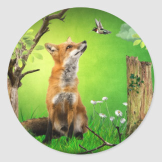 fox and the humming bird classic round sticker