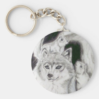 Fox and The Squirrels Basic Round Button Keychain