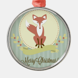 Fox and Wreath Metal Ornament