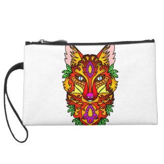 Fox Animal Suede Wristlet