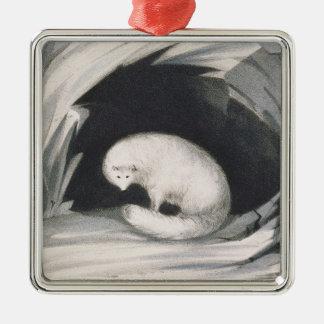 Fox arctique, de 'récit d'un deuxième voyage ornement carré argenté