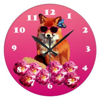 Fox Art, Pink  Wall Clock