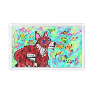 fox autumn art acrylic tray