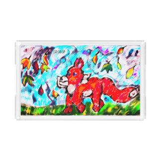 Fox autumn art two acrylic tray