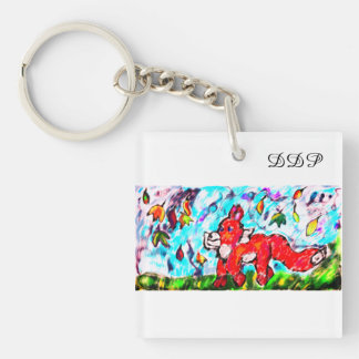 Fox autumn art two keychain
