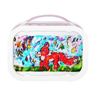 Fox autumn art two lunch box
