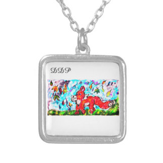 Fox autumn art two silver plated necklace