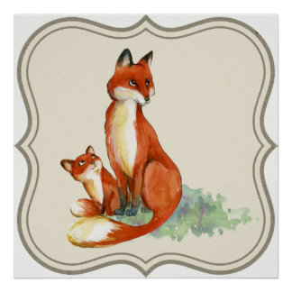 Fox Baby and Mom Poster