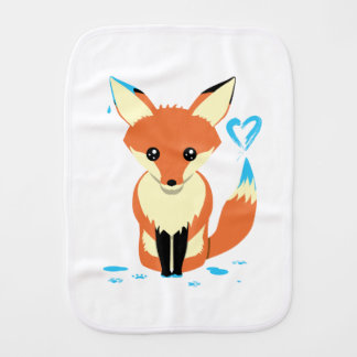 Fox Baby Painting Blue Heart With Tail Burp Cloth