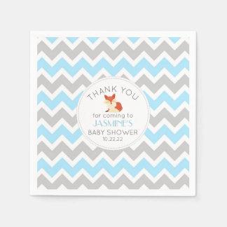 Fox baby shower invitation, boy blue gray napkin